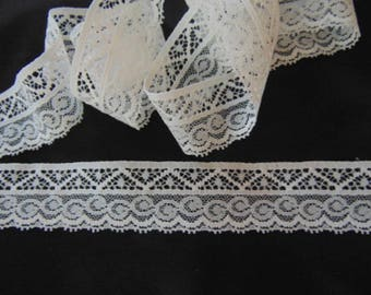5 metres of 32mm  wide cream vintage Nottingham lace,scallop at one side lingerie trim