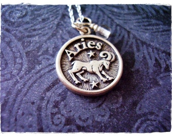 Sterling Silver Aries Necklace - Sterling Silver Aries Charm on a Delicate Sterling Silver Cable Chain or Charm Only