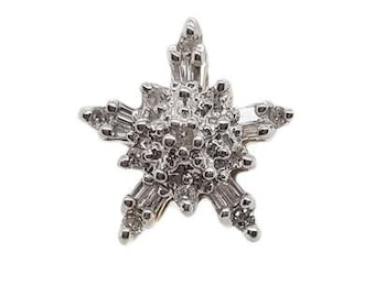 10K White Gold Diamond Star Pendant