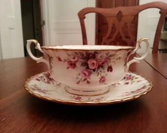 Royal Albert  Cream Soup Bowl and Saucer, Cottage Garden Pattern. England