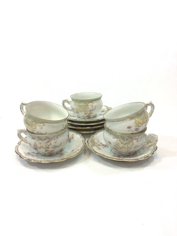 Antique Demitasse Cups Saucers, Hand Painted Pastel Flowers, Eggshell Molded Porcelain, Set of Five, L. Straus & Sons German China