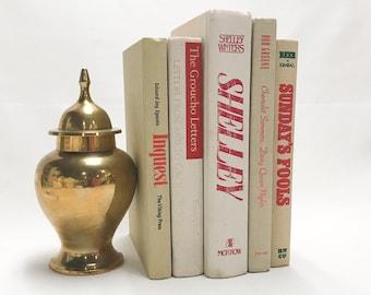 Red and Tan Decorative Books, Shelf Decor, Home Decor