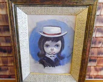 Vintage Big Eyed Boy lithograph, signed Franco.