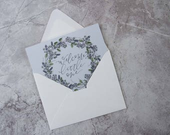 Welcome, Little One [Floral Folded Greeting Card]