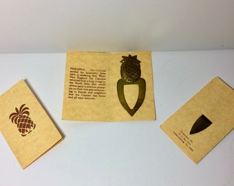 Vintage Brass Pineapple Bookmarks or Memo Clips - Set of 3