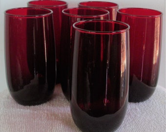 "VINTAGE Six RUBY Red 5"" GLASSES New  Old Store Stock From 40's Perfect Condition, Never Used"