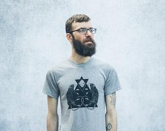 Rat Pyramid Grey Heathered Screen Print Punk Unisex T-Shirt