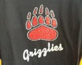 Custom Grizzlies glitter and rhinestone fitted t-shirt