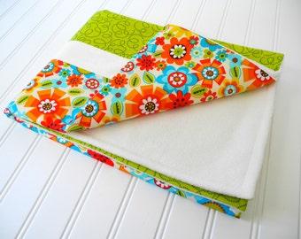 flower baby blanket nursery bedding baby girl gift modern baby blanket orange aqua lime green