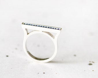 Sapphire Bar Ring 925 Sterling Silver Minimalist Ring September Birthstone