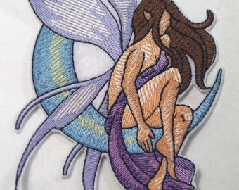 """Lovely FAIRY on Crescent Moon Iron on Applique - Patch - Large 6.75"""" x 4"""""""