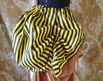 Fantail Pirate Circus Yellow Black Stripe Tie On Bustle Skirt-One Size Fits All