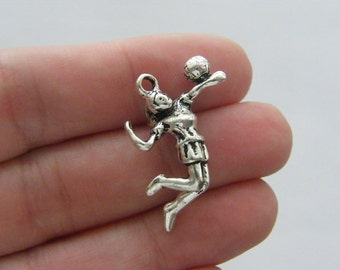 2 Volleyball player charms antique silver tone SP115