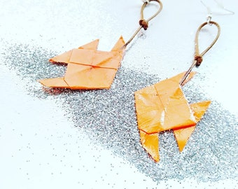 Long earrings origami paper fish.