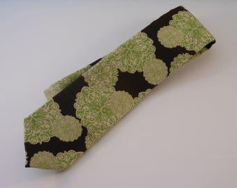Green and Brown Floral Pattern Cotton Necktie