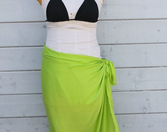 Lower price- Lime Green color-Pareo-solid color-full sized-rayon- sarong, pareau, lavalava, half sized, child size