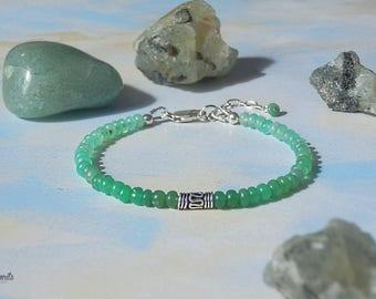 Delicate Small Natural Chrysoprase Bracelet, Gemstones Bracelet, Beaded Bracelet, Chrysoprase Bracelet,  Green Bracelet, Small Bracelet