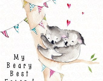Handmade Any Occasion Card - Beary Best Friend