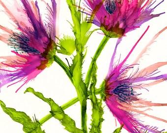 Print. Alcohol Ink. Alcohol Ink Art.  Alcohol Ink Print. Art Print. Wall Art. Floral. Spider flower