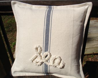 Grain Sack Pillow with Sea rope letters--12 by 12---Ready to ship---Free Shipping