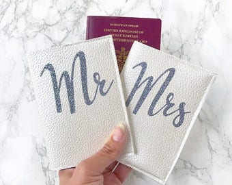 Faux Leather Newly Wed Passport Cover