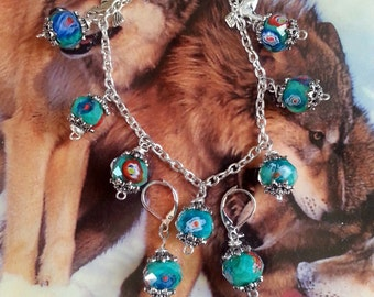 Lovely Blue Green Earring and Bracelet Set/Horse Charms