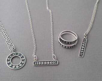 Moon phases Necklaces /Moon phase bar Necklace / Moon phase circle Necklace / Sterling Silver