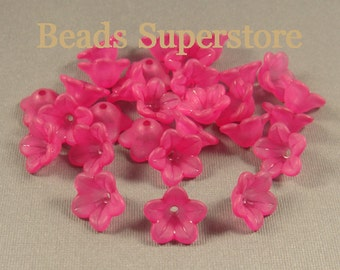 FINAL SALE 13 mm x 7 mm Magenta Lucite Flower Bead - 20 pcs