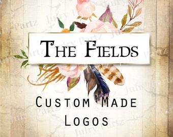 LOGO in The FIELDS (behind)•Premade Logo•Jewelry Card Logo•Flower Logo•Custom Logo•Shop Logo
