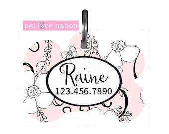 Personalized Pet Tag, Dog Tag, ID Tag, Pink and Black Floral Pet Tag With Name And Phone Number