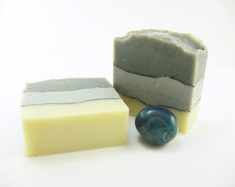 Lakeside Soap handmade with rosemary, fir needle, grapefruit, black pepper essential oils, vegan and man friendly, cold process, handcrafted