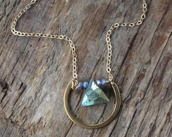 Lucky You -Brass and Stone Labradorite Necklace