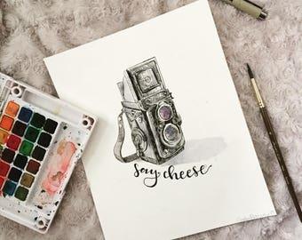 Vintage Camera | Ink and Watercolor | 8x10 | original drawing