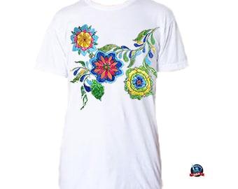 Talavera 100% combed cotton T-shirt derived from a design by artist Laura Baumann