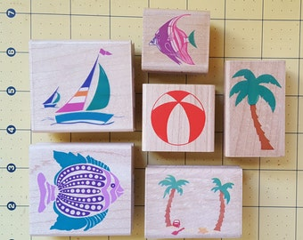 Lot of 6 - Rubber Stampede / Posh Impressions Stamps: Various Sizes - Summer Vacation / Beach Motiff Rubber Stamps