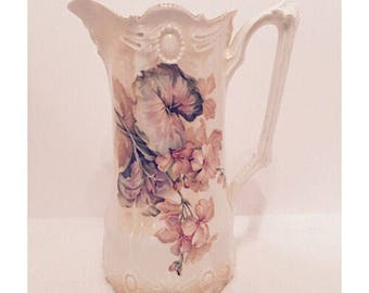 SALE - R S Prussia Floral Pitcher