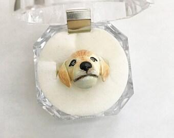 Golden Retriever Ring/Dog ring/Dog head ring/Adjustable ring/Ring for dog lover/Enamel ring/Brass ring/Ring jewelry