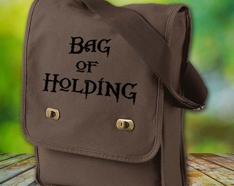Bag of Holding Canvas Field Bag, Dungeons and Dragons Shoulder Bag, RPG Gift for Him, DnD Gift for Her, Custom Bag, Gaming Bag, Dice Bag