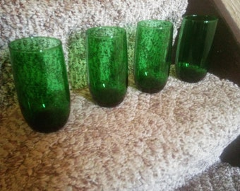 Vintage Set of Four Forest Green Tumblers - Green Drinking Glasses - Tumblers - Forest Green Glasses - Christmas Glasses - St. Patrick's Day