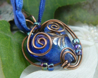 Lampwork Bead Necklace ~ Blue Lampwork Glass Necklace ~ Lampwork Pendant ~ Glass Bead Pendant ~ Wire Wrapped Bead Pendant ~ Heart Pendant