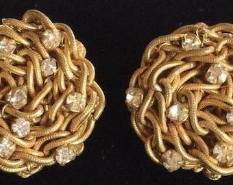 Pretty Vintage Miriam Haskell Earrings~Rhinestones/Goldtone Filigree~Signed