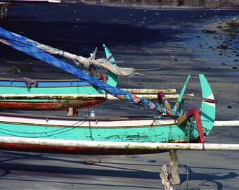 Photograph Asia:  turquoise blue cobalt gray abstract boats sea shore Bali Asia travel sail boats wall decor
