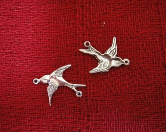 925 sterling silver oxidized Sparrow Bird charm 1pc., bird charm, connector, bird connector, sparrow bird, sparrow bird connector 1 pc