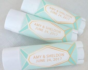 24 Custom Soy Lip Balm Wedding Favors Geometric Collection