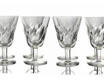 Saint Louis Crystal Wine Glasses. Set of 8 Vintage French Liqueur Glasses.