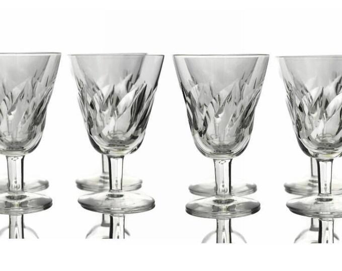 Saint Louis Crystal Wine Glasses. Set of 8 Vintage French Liqueur Glasses.