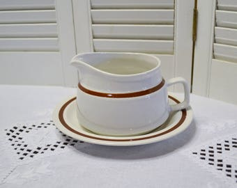 Vintage Clearbrook Gravy Boat and Underplate Cream Brown Band Four Seasons Stoneware PanchosPorch