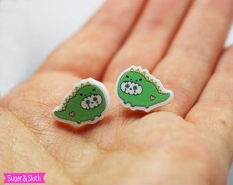 Cute dinosaur earrings, dinosaur gift adult, dinosaur gift for girl, kawaii earrings, cat earrings studs, cat stud earrings, cat gift