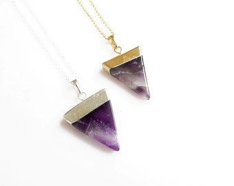 Amethyst Necklace, Triangle Amethyst Pendant Necklace, February Birthstone Jewelry