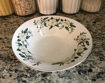 White Magnolia Bowl with 22K Gold Rimmed Soup Bowl by American Limoges China White Gardenia Flower Set